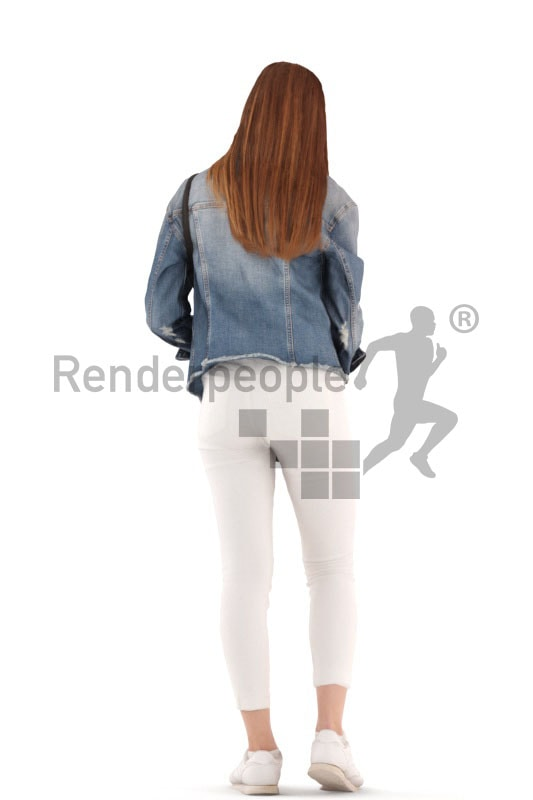 3d people kids, white 3d child standing and searchin in her clutch