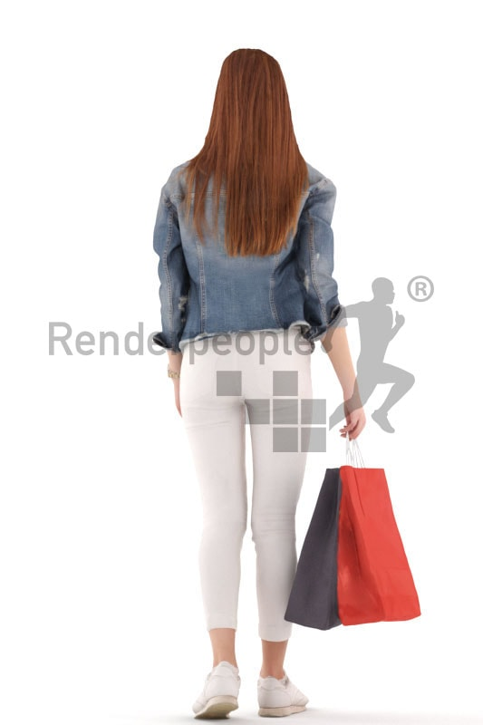 3d people kids, white 3d child walking with shopping bags