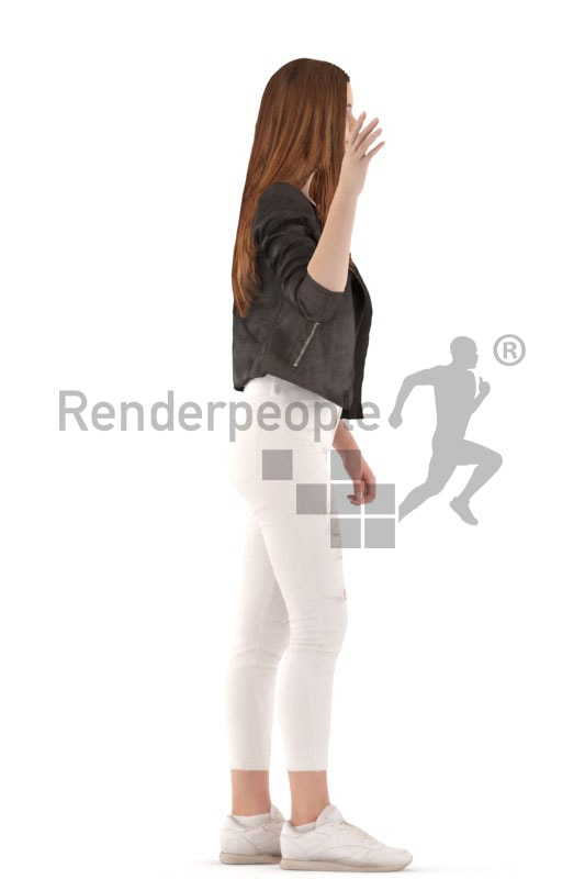 3d people kids, white 3d child walking and waving
