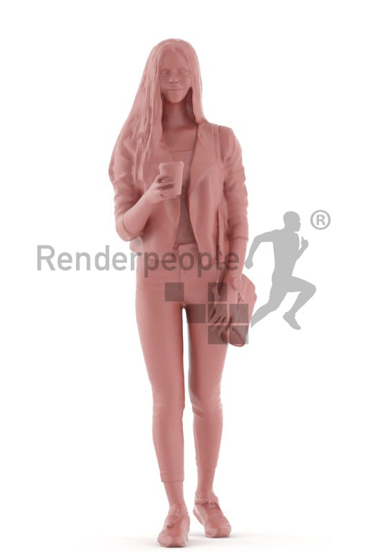 3d people kids, white 3d child walking and drinking coffee
