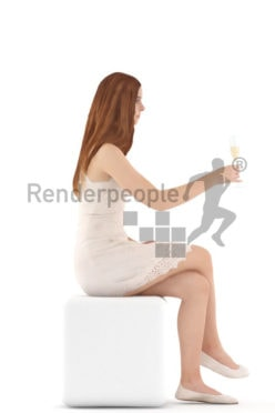 3d people kids, white 3d child sitting drinking