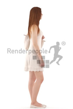 3d people evening, white 3d teenager standing and holding a bag