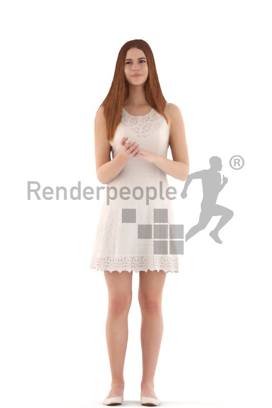 3d people evening, white 3d teenager standing and clapping