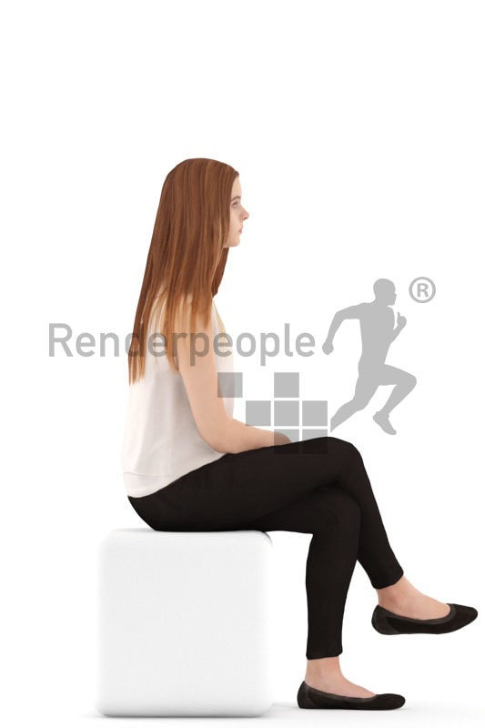 3d people casual, white 3d teenager sitting