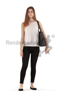 3d people casual, white 3d teenager standing