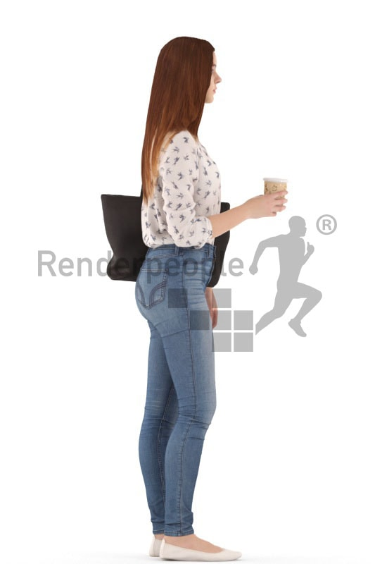 3d people kids, white 3d child standing and holding a cup