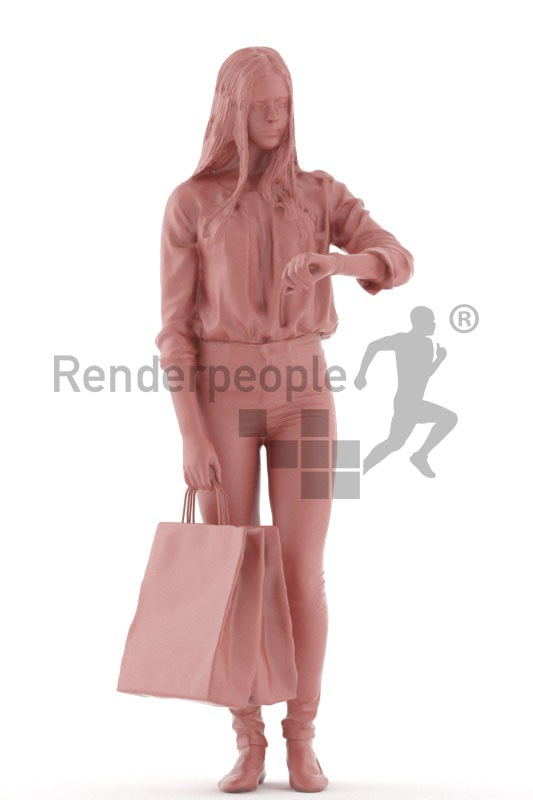 3d people kids, white 3d child standing and holding a bag