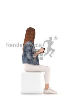 3d people kids, white 3d child sitting and drinking