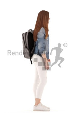 3d people kids, white 3d child standing and waiting