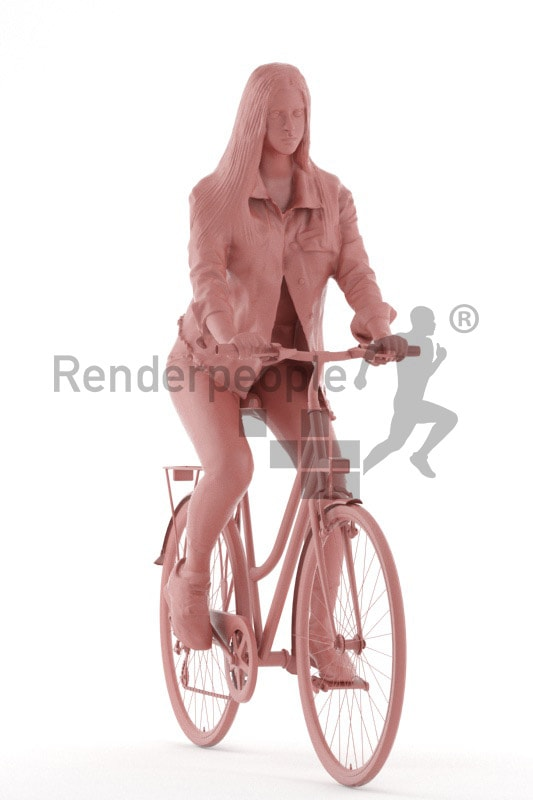 3d people kids, white 3d child riding her bike