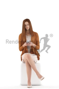 3d people kids, white 3d child sitting and texting