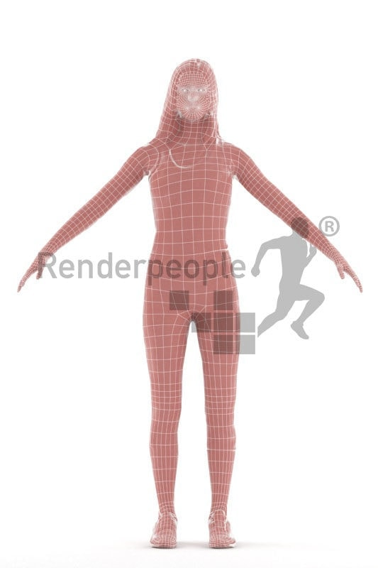 Rigged and retopologized 3D People model – white woman in sports wear