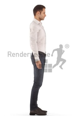 3d people casual, white animated man standing and idling