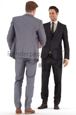 3d people business, young men shaking hands