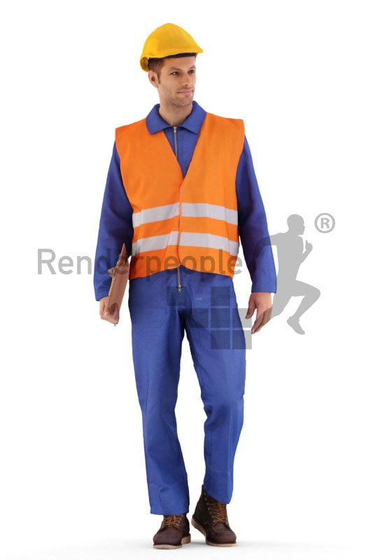 3d people service, 3d worker walking and holding clipboard