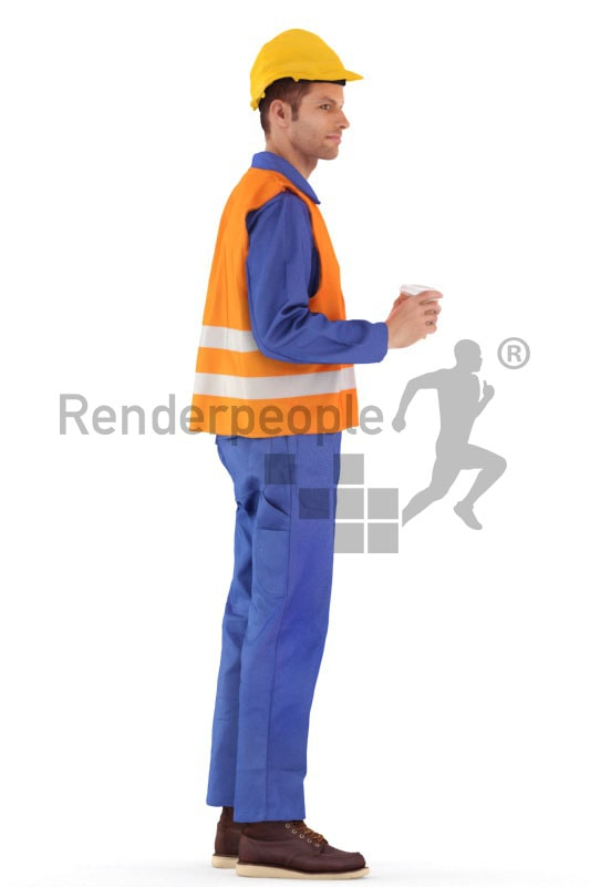 3d people service, 3d worker standing and holding a cup of coffee