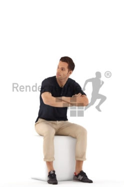 3d people casual, jung man sitting