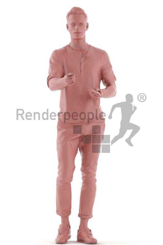 3d people casual, jung man paying with his credit card