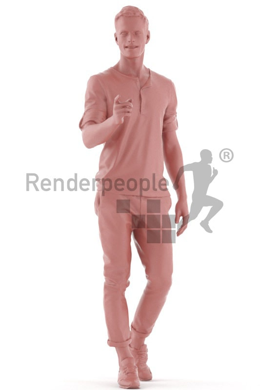 3d people casual, jung man pointing at something
