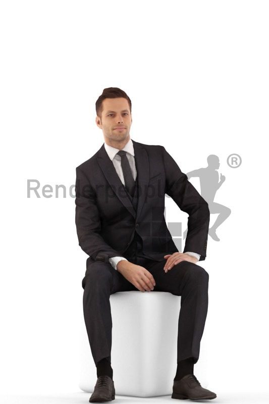 3d people business, jung man sittting