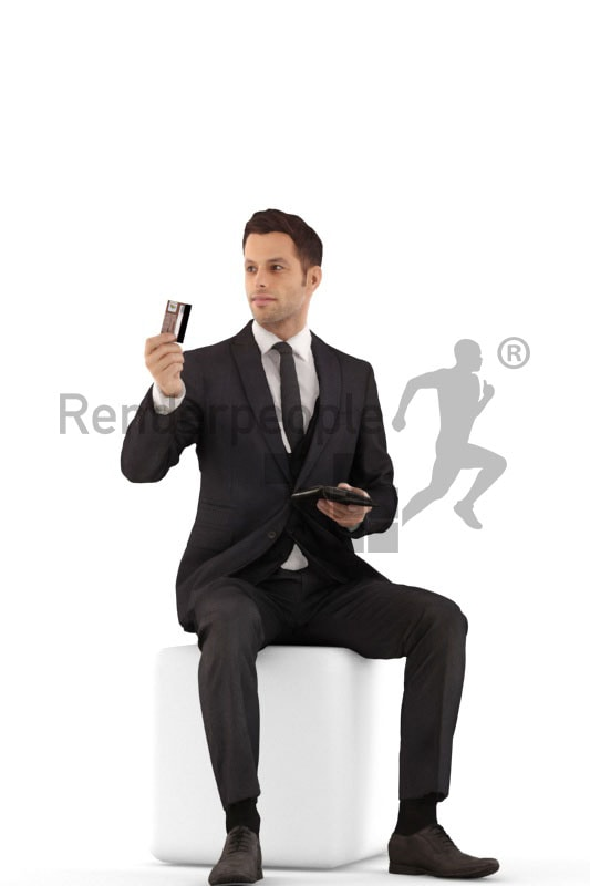 3d people business, jung man sittting, paying with his creditcard