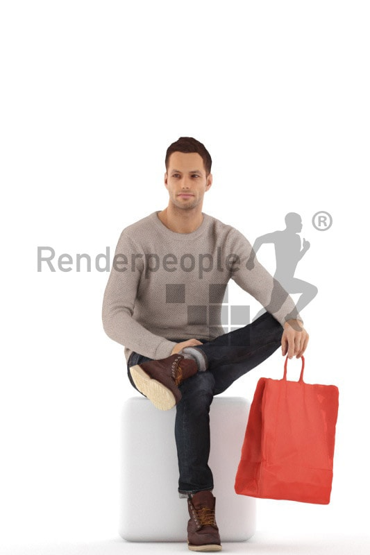 3d people casual, jung man sitting with a shopping bag