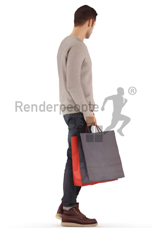 3d people casual, jung man standing, waiting with a shopping bag