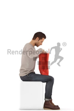 3d people casual, jung man sitting, looking into his shopping bag