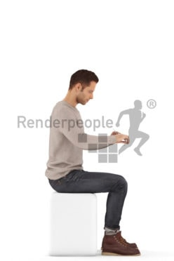 3d people casual, jung man sitting eating and knife