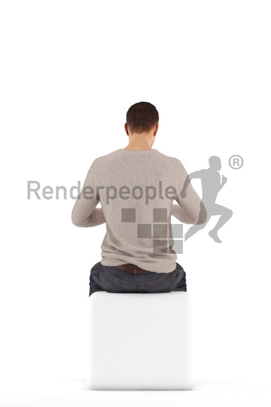 3d people casual, jung man sitting and eating with fork and knife