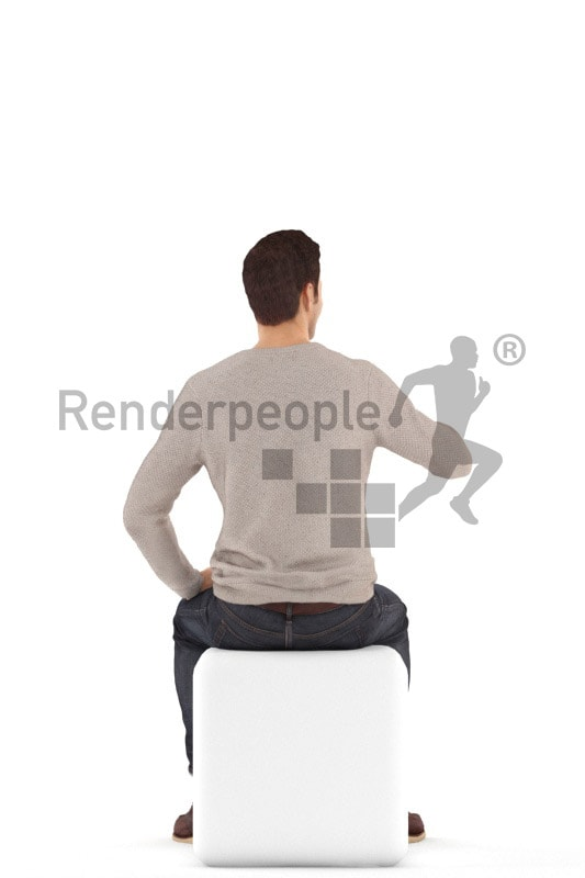 3d people casual, jung man sitting and drinking coffee