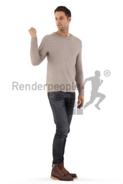 3d people casual, young man standing and pointing
