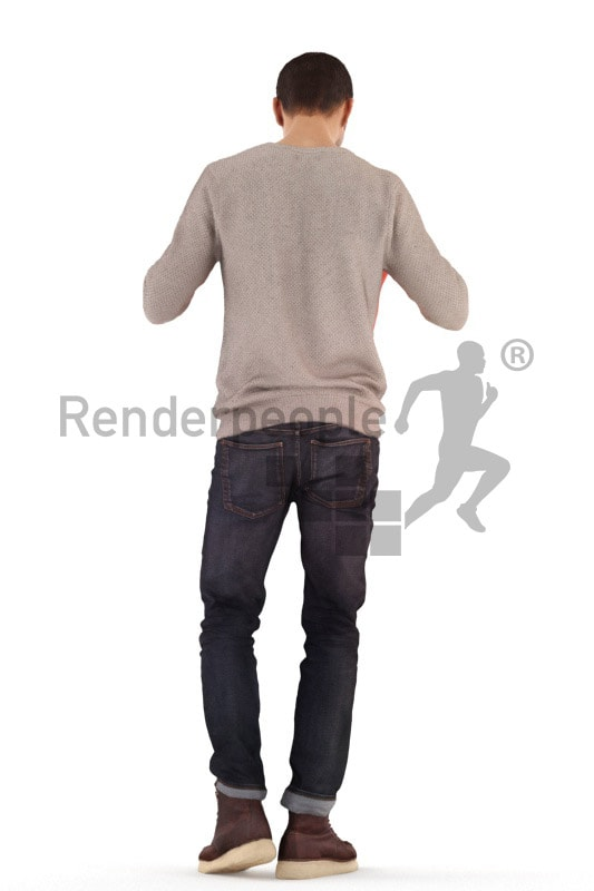 3d people casual, young man standing and looking into shopping bag