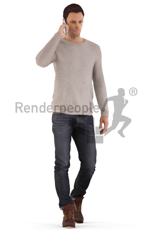 3d people casual, young man walking with mobile phone
