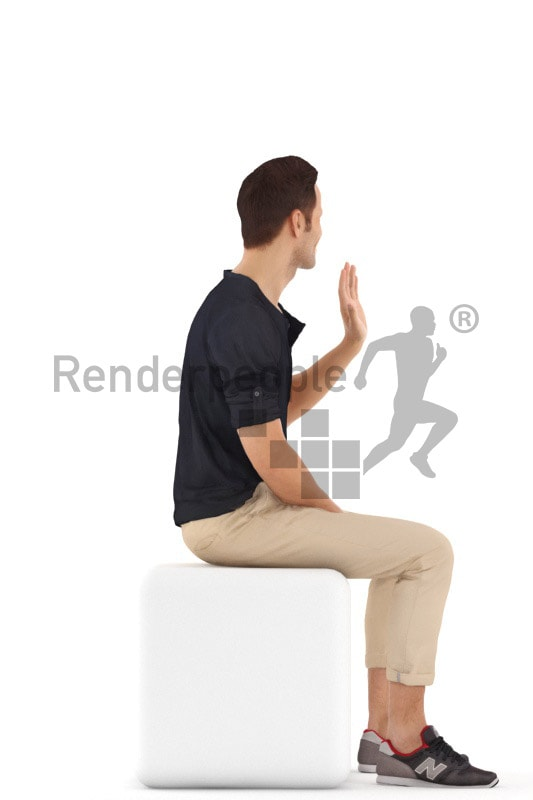 3d people casual, young man sitting and smiling