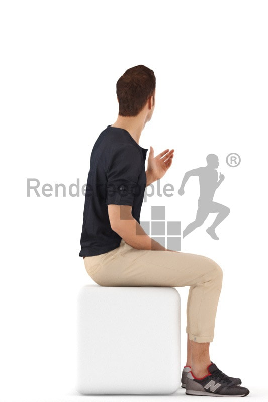 3d people casual, young man sitting and talking