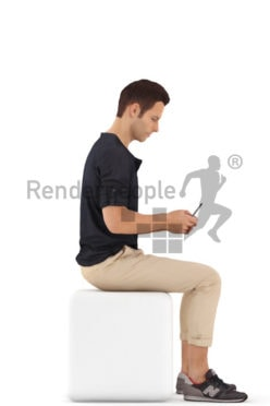 3d people casual, young man sitting and typing
