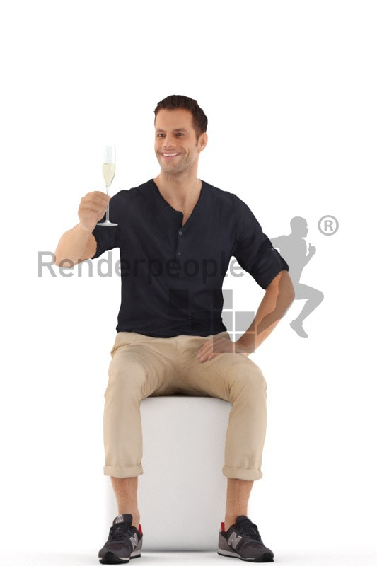 3d people casual, young man sitting and holding glass