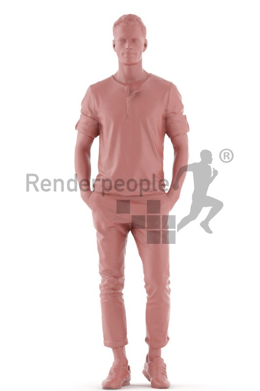 3d people casual, young man standing