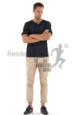 3d people casual, young man standing with arms crossed