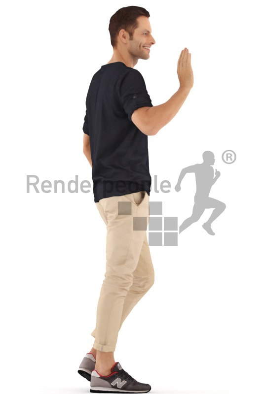 3d people casual, young man walking and waving