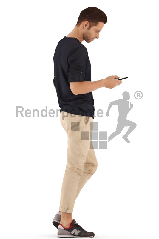 3d people casual, young man walking and checking phone