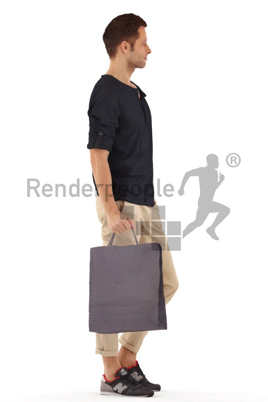 3d people casual, young man standing and holding a shopping bag