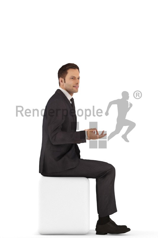 3d people business, young man sitting and talking