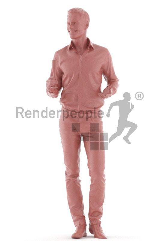 3d people event, young man standing and holding glass