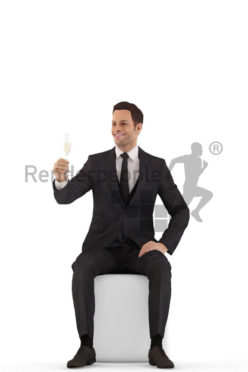 3d people business, young man sitting and holding glass