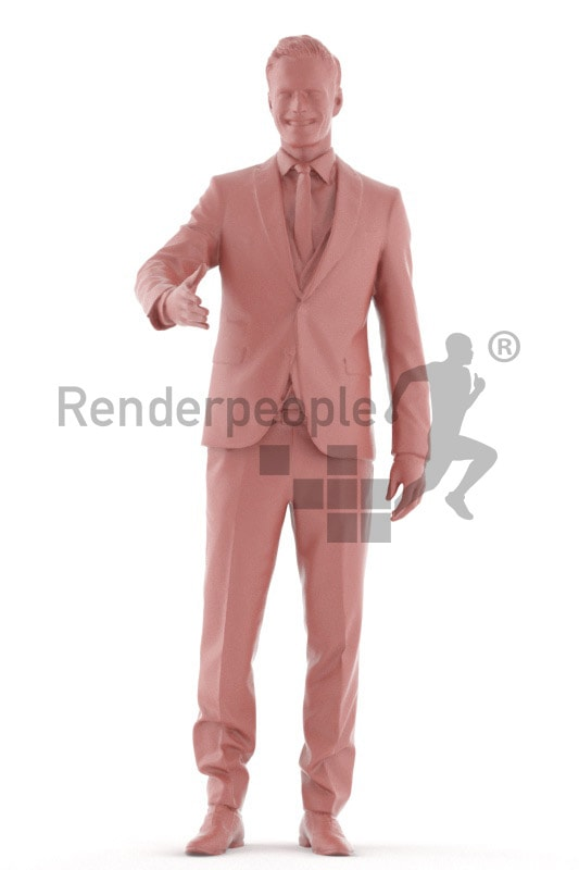 3d people business, young man standing and shaking hands
