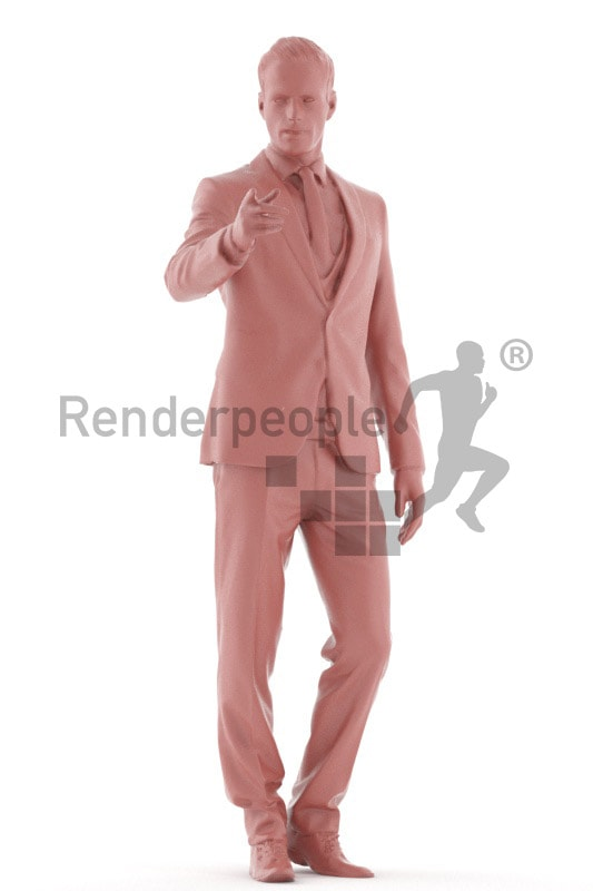 3d people business, young man standing and pointing