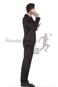 3d people business, young man standing and calling somebody