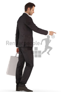 3d people business, young man shopping standing and pointing